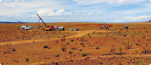 Drilling at Erdene's Altan Nar Gold-Polymetallic Project in southwest Mongolia.