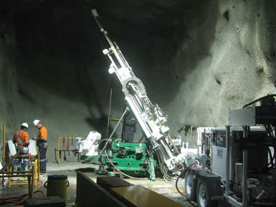 Underground drilling at the Savannah project of Panoramic Resources in Western Australia.