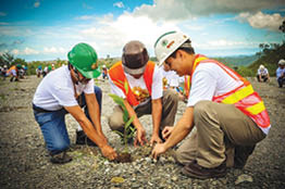 Employee volunteers help transform a barren and defoliated site into a green sanctuary that will help propagate wildlife as part of Arbor Day celebrations in Cebu (Photo courtesy Carmen Copper).