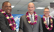 GE PNG country head Peter Loko (left), GE vice chairman John Rice and GE A&NZ president and CEO Geoff Culbert (right) at the opening of the PNG office.