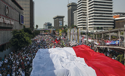 Celebrations on the streets of Jakarta after the recent inauguration ceremony for Jokowi.