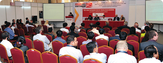 A well-attended conference session held during the inaugural Mining Vietnam in Hanoi during 2012.