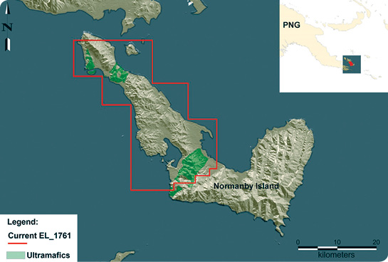 The Sewa Bay prospects of Highlands Pacific are on Normanby Island, off the southeast tip of Papua New Guinea.