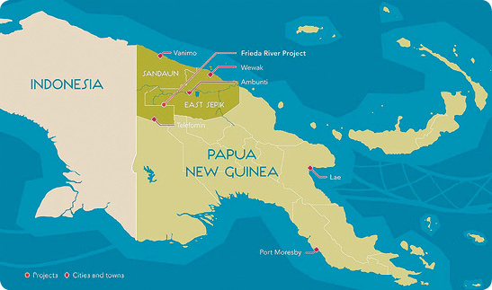 The Frieda River project is on the border of Sandaun (formerly West Sepik) and East Sepik provinces in northwest PNG.