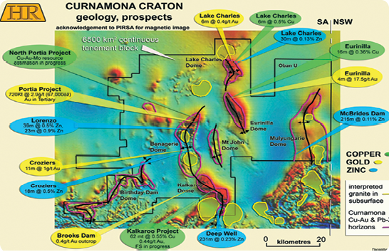 Geology and prospects within the Curnamona Craton in South Australia, adjacent to the border with New South Wales.