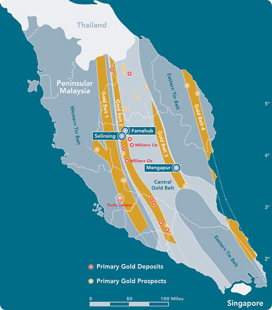 Peninsular Malaysia's gold belts and major deposits with Monument's projects highlighted.