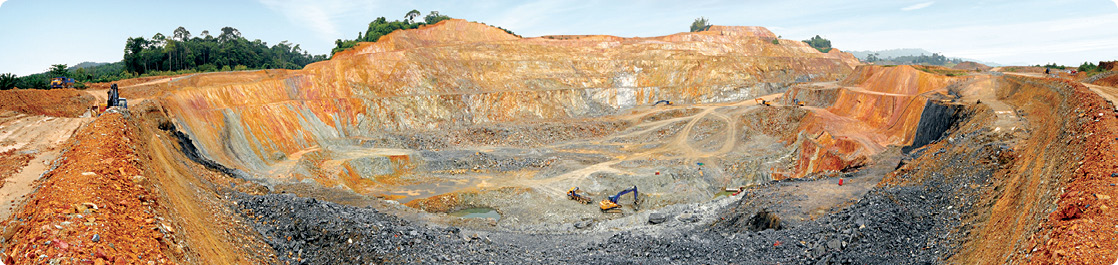 The open pit at Monument Mining's Selinsing Gold Project in Pahang state, Malaysia's largest gold producing state.