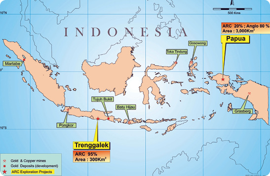 The location of Arc Exploration's two projects in Indonesia.