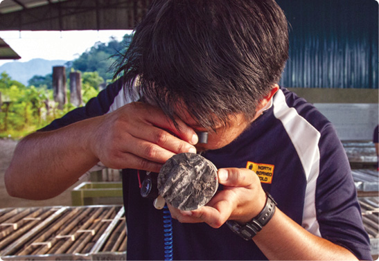 Examining a core sample from Besra's Bau Gold Project in East Malaysia.