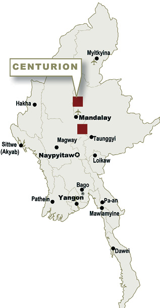 Centurion's Myanmar concessions are near the city of Mandalay with Slate Belt to the south and Bandi to the north.