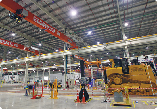 Konecranes are used throughout the new Caterpillar facility at Rayong.