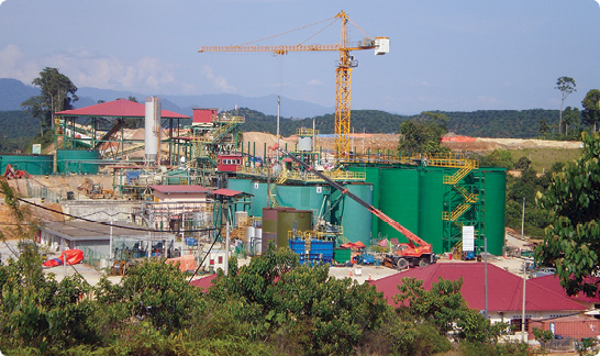 The processing facilities at Monument's Selinsing project during the expansion to an annual rate of 1 million tonnes.