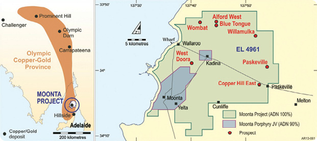 Alford West Prospect is in the northern part of the Moonta Cooper-Gold Project on the northern Yorke Peninsula.