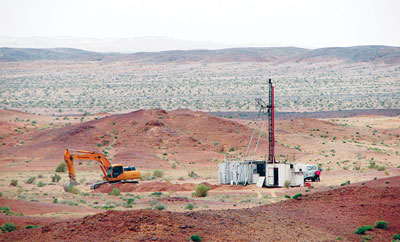 Drilling by Erdene Resource Development Corp on the Zuun Mod project.