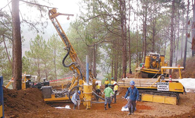 Drilling by ECR Minerals at the Itogon Gold Project.