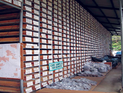 The core shed at Intex Resources' Mindoro Nickel Project on Mindoro Island.