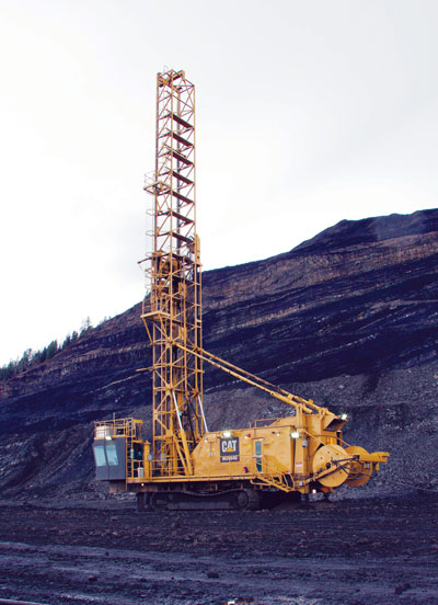 The Caterpillar MD6640 Rotary Drill at work in a coal mine.