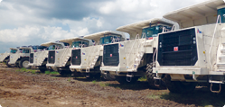 Terex Trucks at the mine site's equipment yards in Phakant, northern Myanmar.